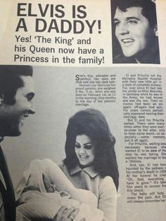 NEWSPAPER of Elvis and Priscilla lisa marie born