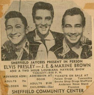 NEWSPAPER rare with photo ELvis Scotty Bill Sheffield Community Center