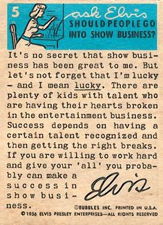 RARE 1956 card about show business