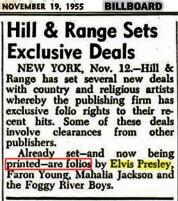 NEWSPAPER 1955 November 19 abot Elvis and Hill Range