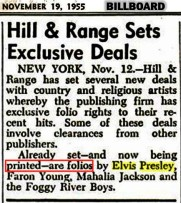 NEWSPAPER 1955 November 19 abot Elvis and Hill Range