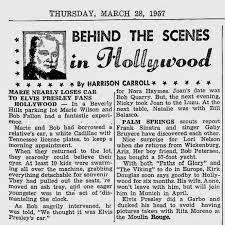 NEWSPAPER 1957 March 28 Marie nearly loses car to Elvis Presley fans