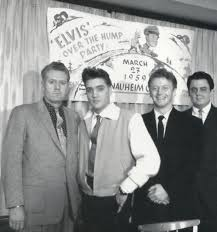 BIO Elvs with Vernon and Red West under Elvis Presley youth banner