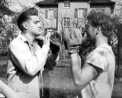 Red West with Elvis 1959 baseball gloves